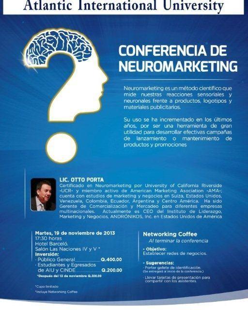 Conferencia sobre Neuromarketing – martes 19 de noviembre – Hotel Barceló, Guatemala