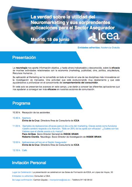 ICEA: Neuromarketing para el Sector Asegurador – 18 de junio 2014 – Madrid