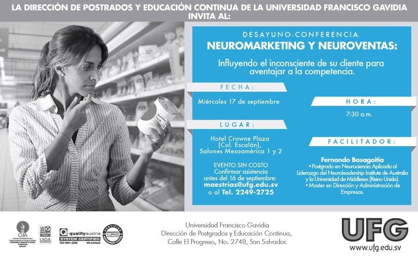 Neuromarketing y Neuroventas, 17 de septiembre 2014, San Salvador, El Salvador